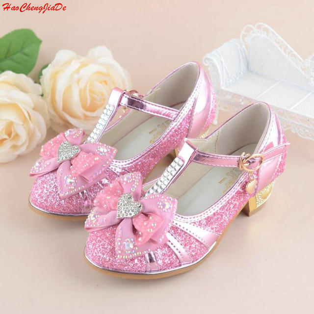 ac96be8056 US $13.59 30% OFF|New Girls Sandals High Heels Children Fashion Princess  Leather Summer Shoes Chaussure Enfants Fille Sandalias-in Sandals from  Mother ...