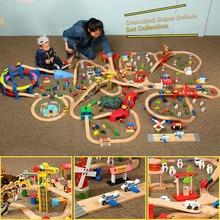 """Детский Электрический поезд, набор, полицейская пожарная станция, кубики """"дорожное движение"""", магнитный поезд, литая под давлением, слот, игрушка, подходит для стандартных деревянных тренировок"""