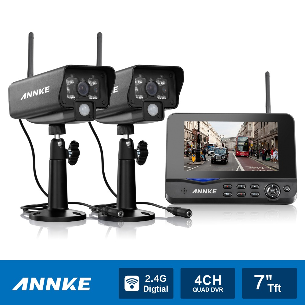 annke 7 tft lcd dvr 4ch digital wireless monitor wifi cctv home security camera system. Black Bedroom Furniture Sets. Home Design Ideas