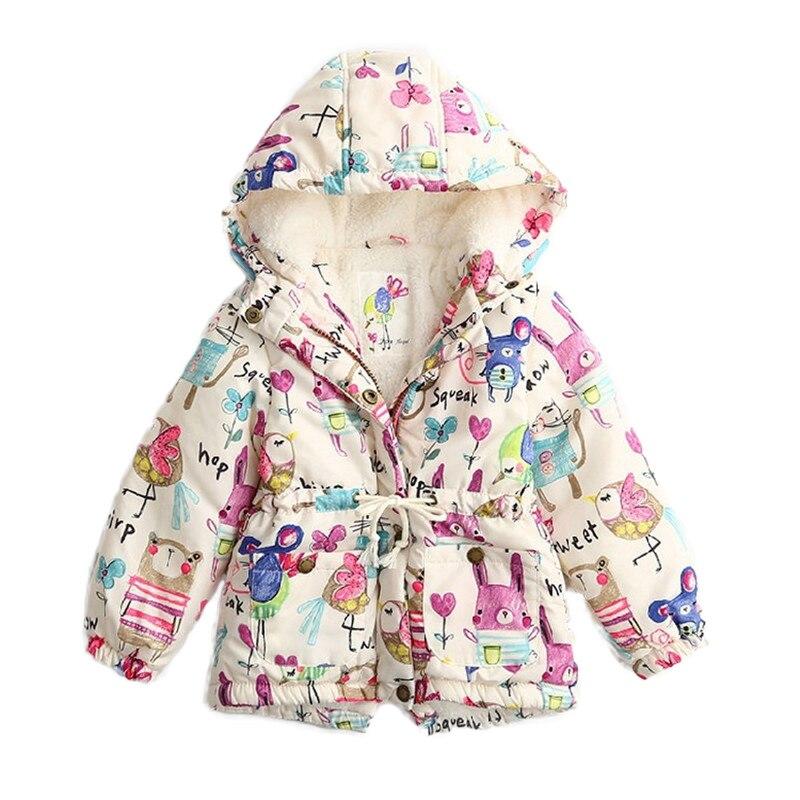 Winter Kids Jackets & Coats Girls Graffiti Parkas Hooded Baby Girl Warm Outerwear Cartoon Animal Children's Jacket for 2-11yr