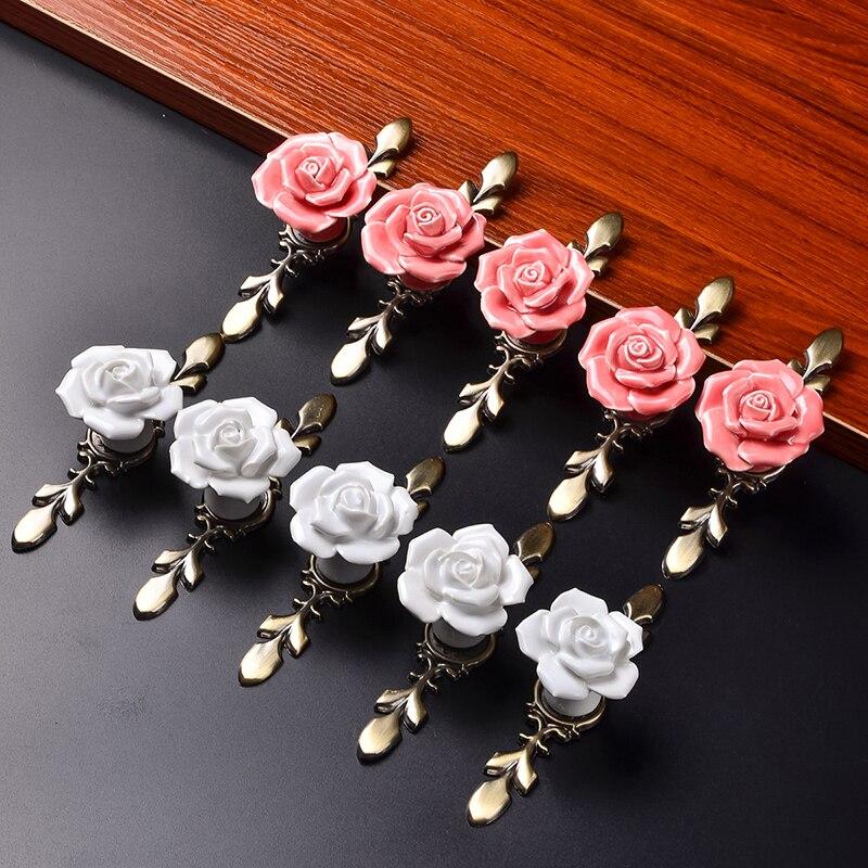 10pcs Vintage Rose Flower Ceramic Door Knobs Handle Drawer White  DT
