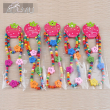 AOMU 1 Set Kids Girls Colorful Wood Bracelets Necklace Star Flower Pattern Children Wristbands Birthday Party Gift Jewelry Set