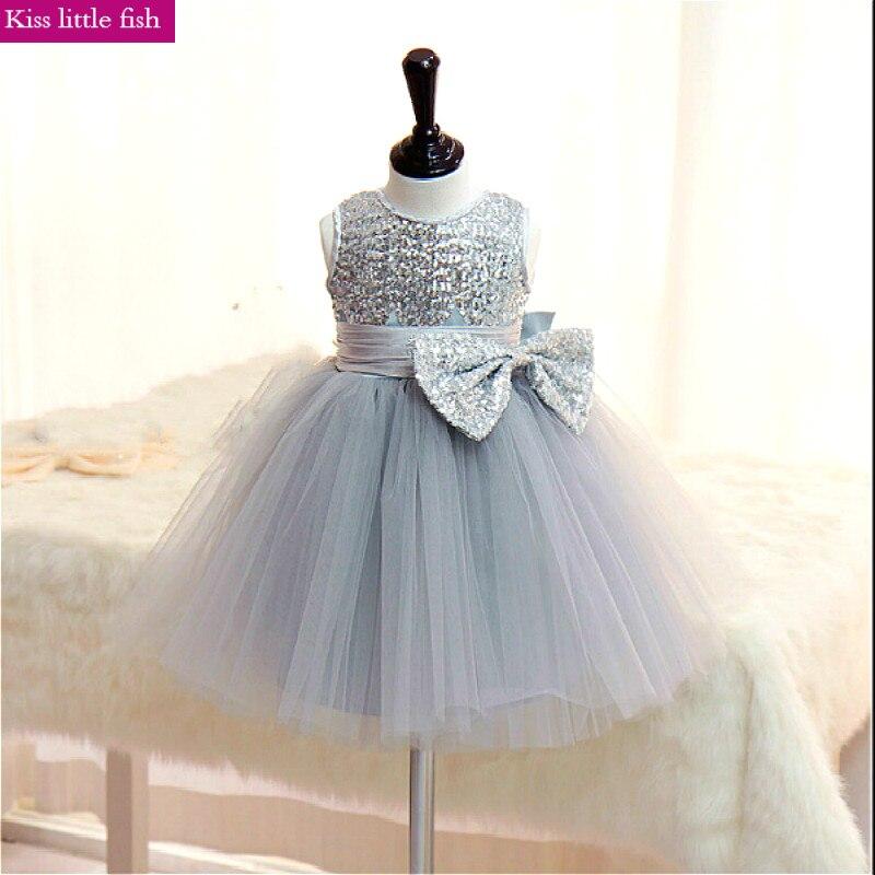 Модное серебряное платье с цветочным узором для девочек на свадьбу, пышные платья для маленьких девочек, короткие платья,, на заказ, для детей от 2 до 14 лет - Цвет: Серебристый