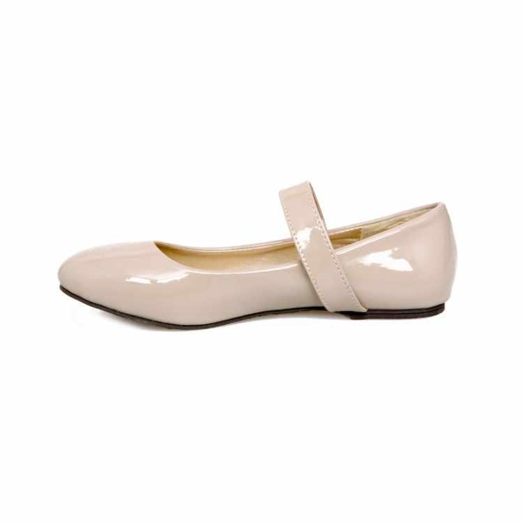 XJRHXJR Bahar Sonbahar Rahat Kadın Flats Ayakkabı Rugan Bayan Lolita Prenses Ayakkabı Düz Kız Cosplay Ayakkabı Boyutu 30- 50