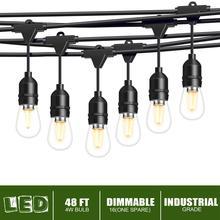 цены ISRAMP Outdoor Lights, 4W LED Dimmable String Light for Patio Backyard 48Ft Industrial Grade 15 E26 Sockets Hanging Lights