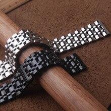 Ремешок для часов 22 мм 23 мм 24 мм 26 мм Серебристый Черный Нержавеющая сталь Мужской металлический браслет ремешок для часов для фирменных часов
