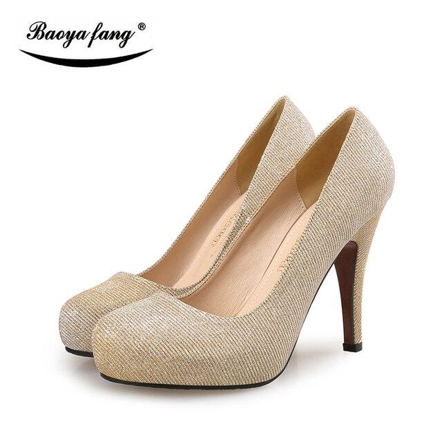 Visualizzza di più. Moda Sottili tacchi alti scarpe donna Pompe punta  Rotonda office lady Partito Pompe Oro argento 776020d91dc