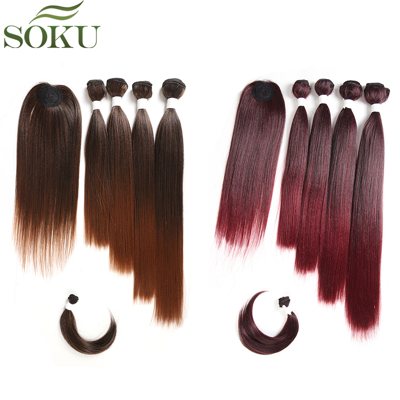 SOKU Synthetic Hair Bundles With Closure Bang 12-18inch Yaki Straight Hair Weaves For Full Head Ombre Brown Hair Extension