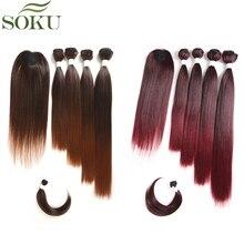 Лучший!  SOKU Синтетические Пучки Волос С Закрытием Взрыва 12-18inch Яки Прямые Плетения Волос Для Полную  Лучший!