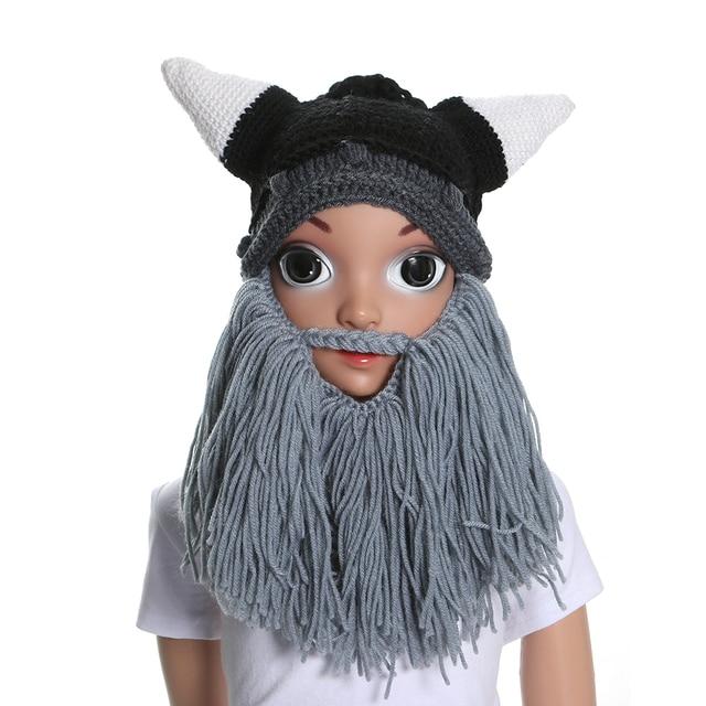 d85ad70e69c 1PC Handmade Knit Hat Men s Viking Beard Cap Head Beard Hats Barbarian  Vagabond Beanie Viking Horns