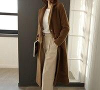 black lapel extra long wool coat women fashion winter coat women long camel coats female