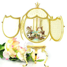 Ostrich egg fashion unique European royal wedding gift lover Christmas music box