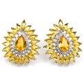 Мода Золотой Цитрин SheCrown Свадебные женщины Созданы Серебряные Серьги 25x21 мм