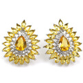 Fashion Golden Citrine SheCrown Wedding Woman's Created  Silver Earrings 25x21mm