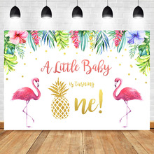 NeoBack Flamingo First Birthday Photo Background Baby Summer Tropical Flower Photography Backdrops Studio Shoots