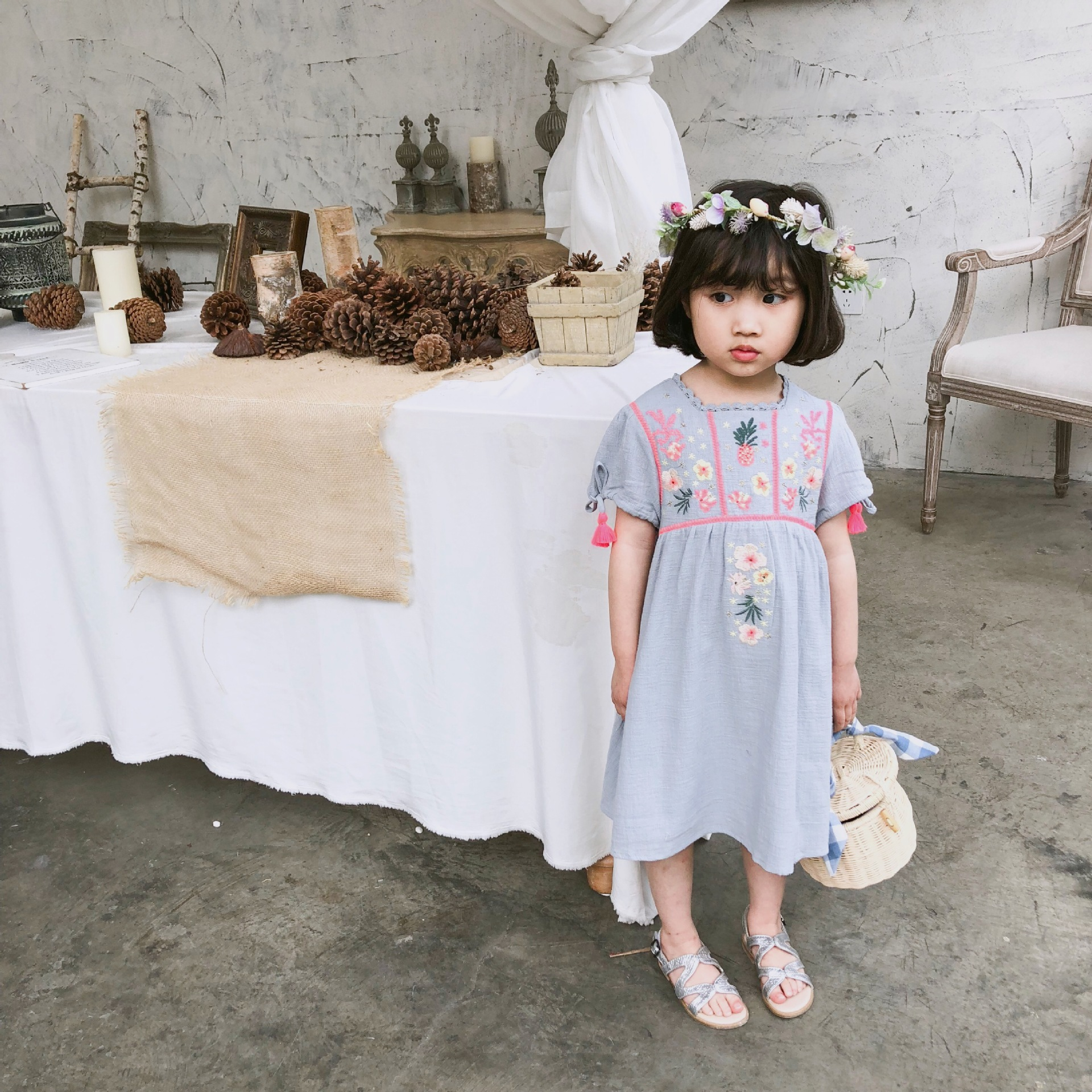 INS HOT BABY GIRL CLOTHES KIDS LUXURY TUTU DRESSES EMBROIDERY GIRLS LONG DRESSES UNICORN PARTY DRESSES