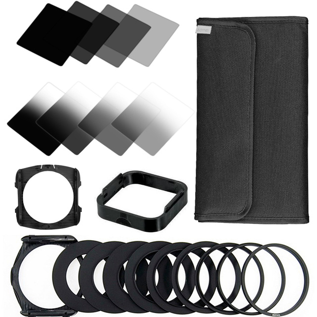 Zomei 21 in1 Gradient Neutral Density filter kit Full&Graduated ND2+4+8+16 Square filter for Cokin P Series SLR DSLR Camera Lens