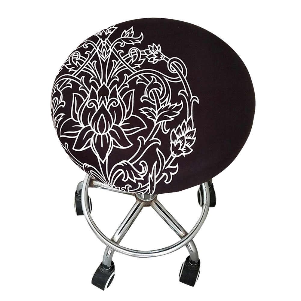 Мягкий домашний чехол для табурета с цветочным принтом и орнаментом, чехол из полиэстера для совещаний, чехол для офисного бара, эластичный круглый стул