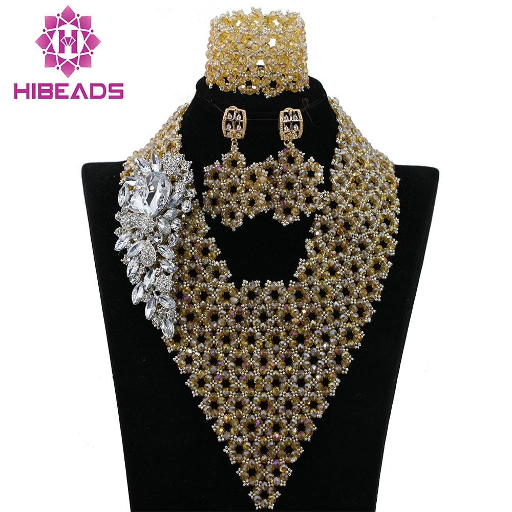 Fashion Handmade Braid Gold Indian Bridal Beads Jewellery Set ...