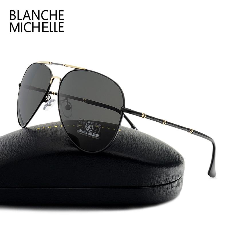 بلانش ميشيل الطيار النظارات الشمسية الرجال الاستقطاب uv400 2018 العلامة التجارية مصمم القيادة خمر عالية الجودة نظارات الشمس مع مربع