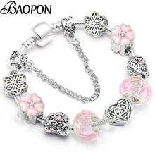 BAOPON High Quality Silver plated Murano Crystal Beads Pandora Bracelet European Charm Bracelet for Women Jewelry Gift BR001(China)