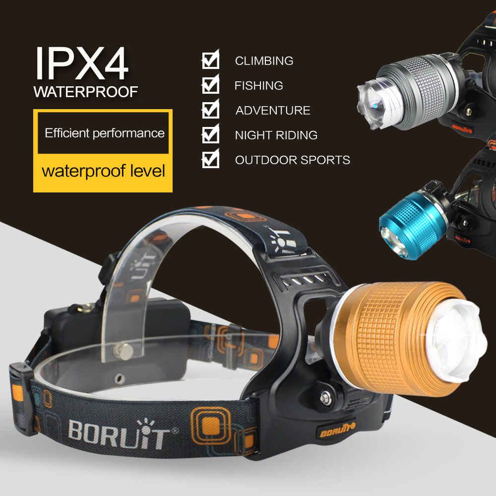 BORUIT 2000LM T6 LED Headlight 3 Mode Zoomable Headlamp Menggunakan 18650 Baterai Kepala Torch Waterproof Camping Berburu Senter