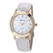 Недавно Дизайн часы Для женщин Девушка Алмаз Аналоговый Кожаный ремешок кварцевые наручные часы Relogio Feminino best подарок