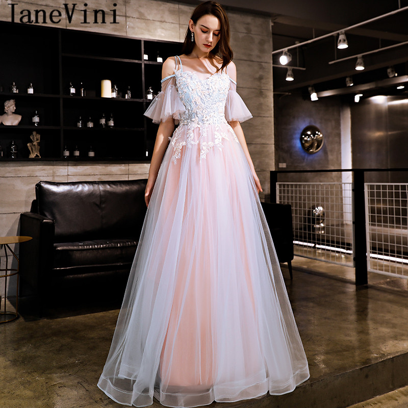 JaneVini 2018 Vintage Tulle   Bridesmaid     Dresses   Long Women Wedding Party   Dress   With Sleeves Lace Beaded Prom Gowns Vestidos Dama