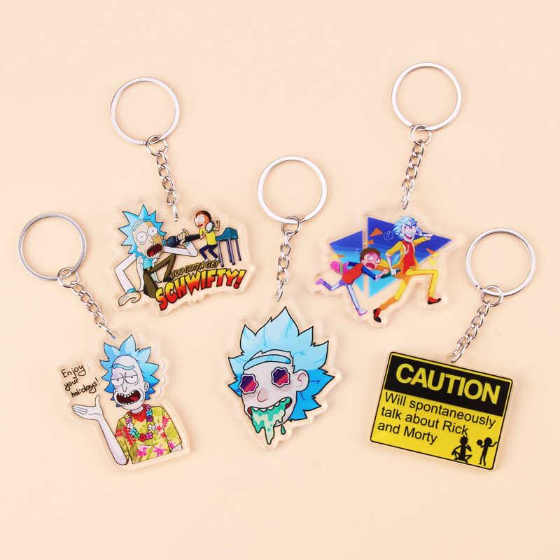 Rick และ Morty พวงกุญแจอะคริลิคน่ารักการ์ตูนอะนิเมะ Key CHAIN ผู้หญิงผู้ชายเด็กแหวนคีย์แหวนของขวัญ Porte Clef