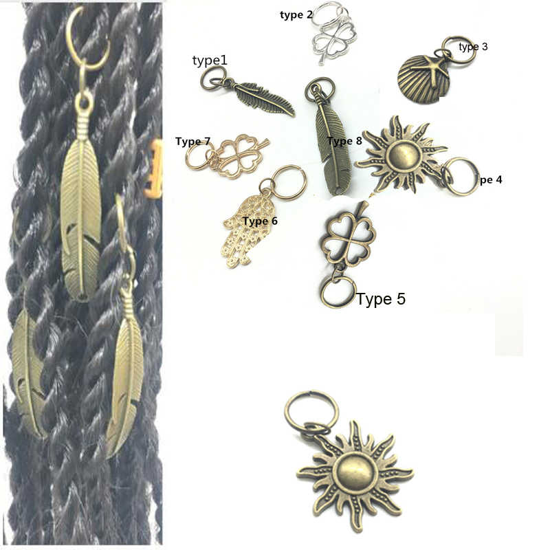 5Pcs Silver & Gold Plated Adjustable Hair Braid Dread Dreadlock Beads Clips Cuff Leaf Star Feather Braiding Hair Beads