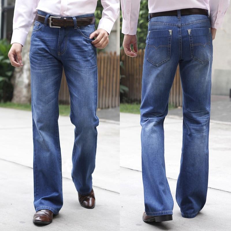 Men's boot cut shuimo small boot cut denim whisker blue bell ...