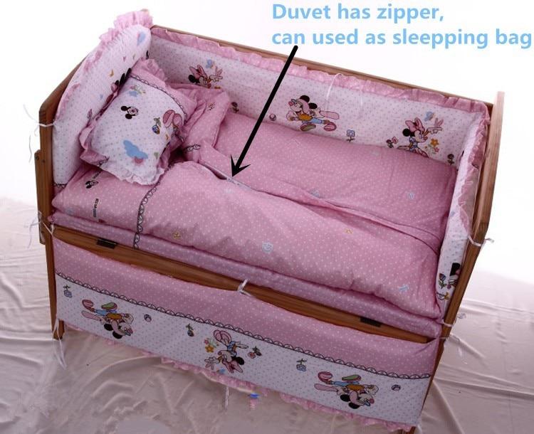 Promotion! 6PCS Cartoon Baby Crib Bed Linen Baby Bedding Set Baby Cot Jogo De Cama (3bumpers+matress+pillow+duvet)