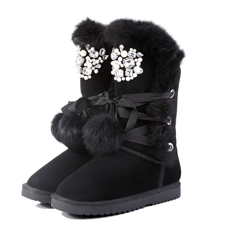 Women Winter Flats Genuine Leather Rabbit Fur Round Toe Rhinestone Lace Up Fashion Warm Mid Calf Boots Size 34-39 SXQ0828 spring black coffee genuine leather boots women sexy shoes western round toe zipper mid calf soft heel 3cm solid size 36 39 38