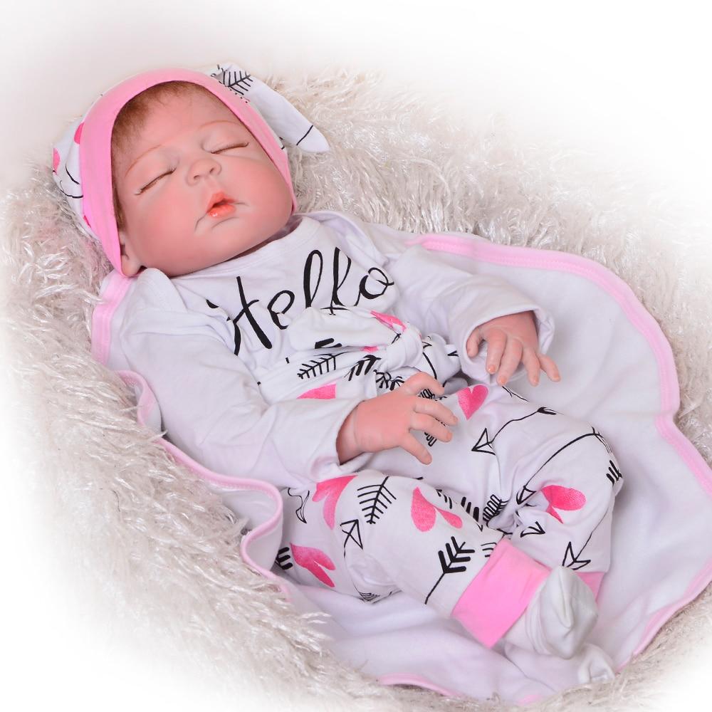 2018 Handmade Sleeping Dolls Reborn 23 Inch Baby Girl Lifelike Full Silicone Vinyl Reborn Babies Doll
