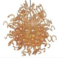 Hotel Bar Office Home Decoration Chandelier Hand Blown Amber Glass Chain LED Chandelier