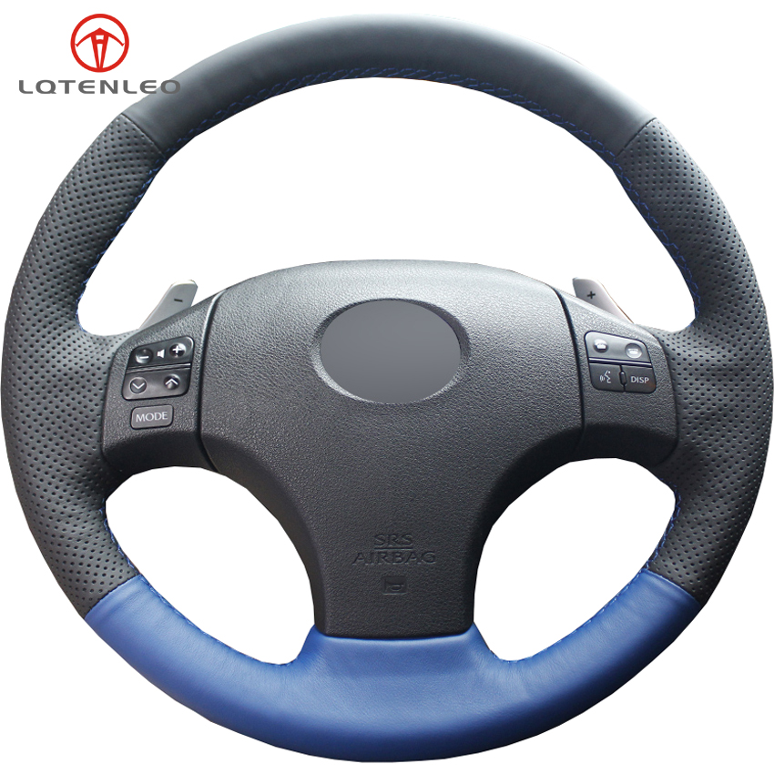 LQTENLEO Blue Black Leather Hand Sewing Car Steering Wheel Cover For Lexus IS IS250 IS250C IS300