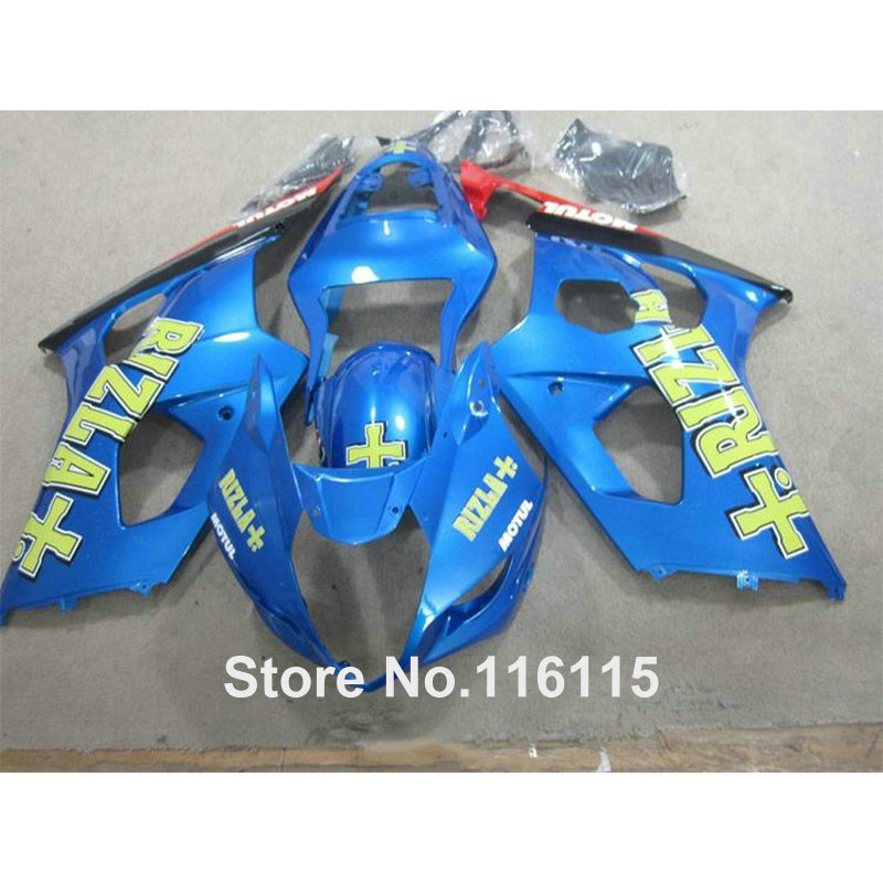 Injection hot sale fairing kit for SUZUK GSXR1000 K3 K4 03 04 black blue RIZLA+ motorcycle fairings set GSXR 1000 2003 2004 HX60