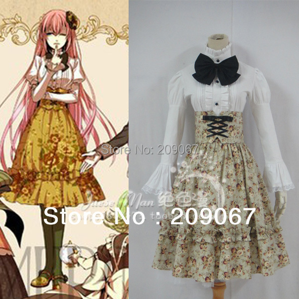 VOCALOID Megurine Luka Bad End Night Cosplay Costume Japanese Anime Maid Lolita Lace Dress Rural Style