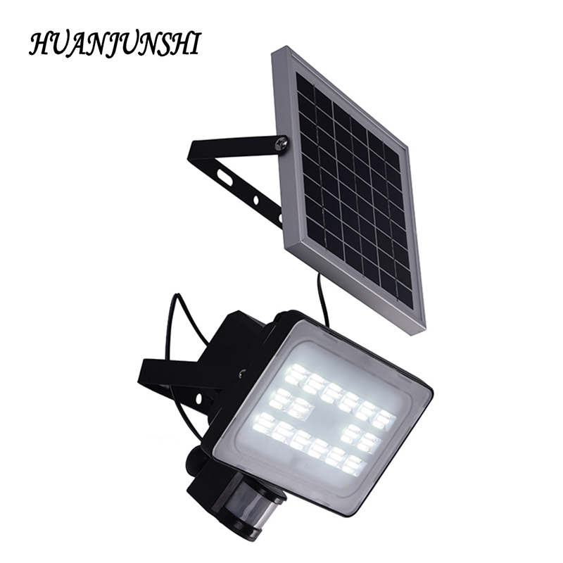 30W Solar Panel LED Floodlights IP65 Security Garden Light PIR Motion Sensor Solar Lamps For Garden Waterproof Outdoor Lighting ds 360 solar sensor led light black