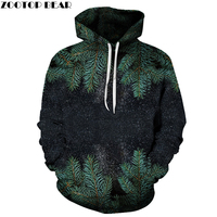 3D Sweatshirts Unisex Christmas Tree Hoodies With Hat Print Unique Autumn Winter Loose Thin Hooded Hoody
