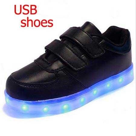 19549da45f Moda adulto feminino masculino Sapatilhas Crianças Sapatos de Lona Casuais  Plana mão CONDUZIU a luz do carregador USB em Sapatos esportivos de Mãe    Kids no ...