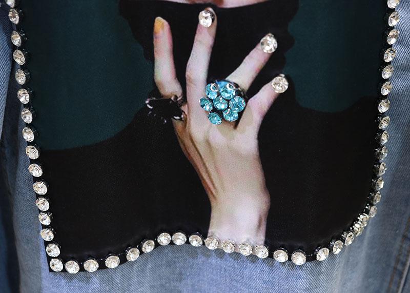 Denim Cappotto Diamante Donne Archi Outwears Vestiti Molla Lungo Studenti Fori Delle Bellezze Giacca Del Blu Della Jeans Stile Il Allentato Bf Coreano Con Di qAEwt
