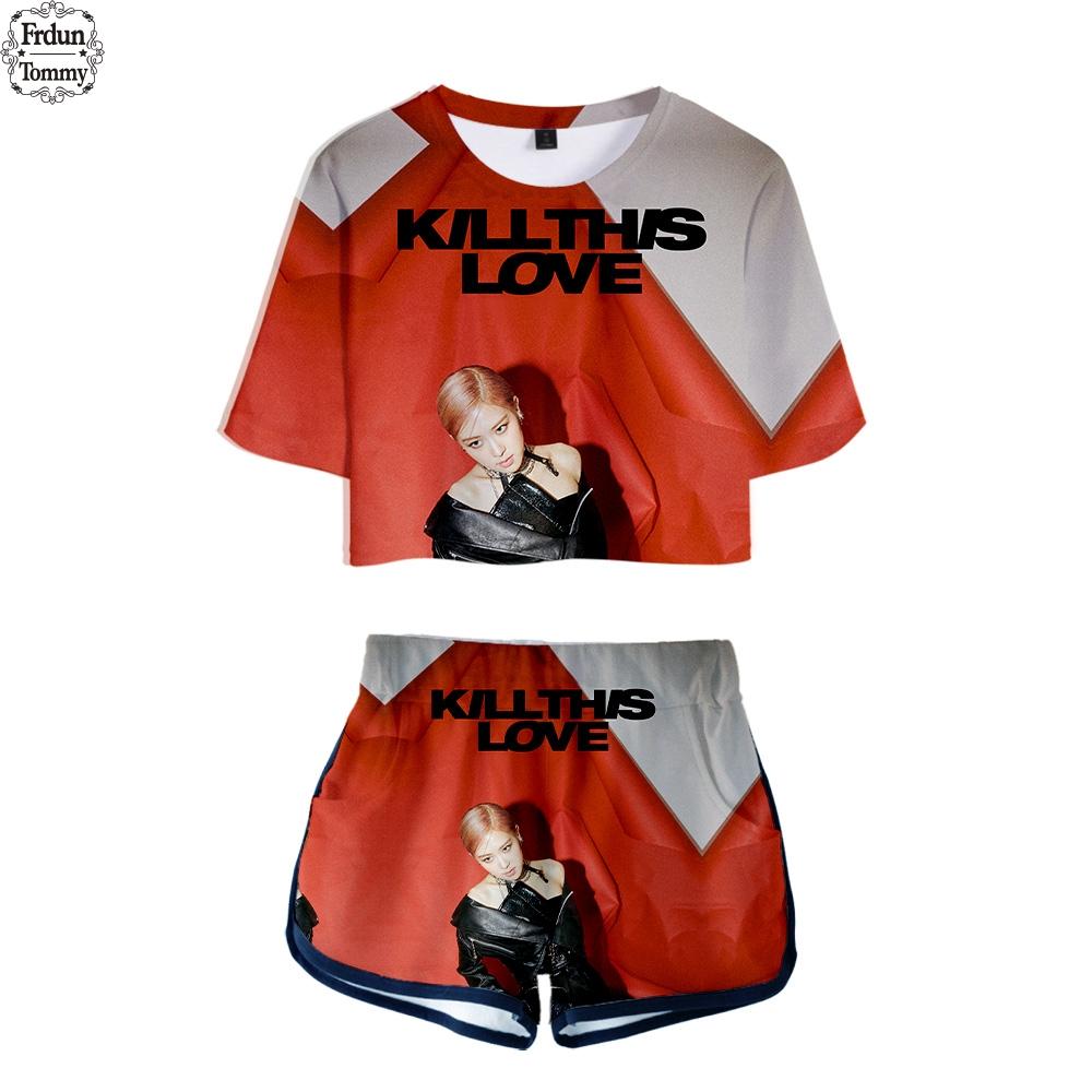 Frdun Tommy BLACKPINK KILL THIS LOVE 3D Two Piece Set Sexy Cotton Tshirt Popular Tshirt Hip Hop New 3D Shorts Casual Tops+Shorts jung kook bts persona