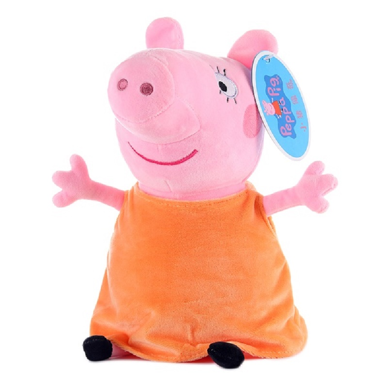 Peppa pig George pepa Pig Family Plush Toys 19cm Stuffed Doll & peppa pig bag Party decorations SchoolbagToys For Children 5