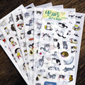 2017 Waterproof Cartoon Animal DIY Notebook Diary Stickers Cute Cats Stickers Gift Wrap Stickers 6 Sheets/Set