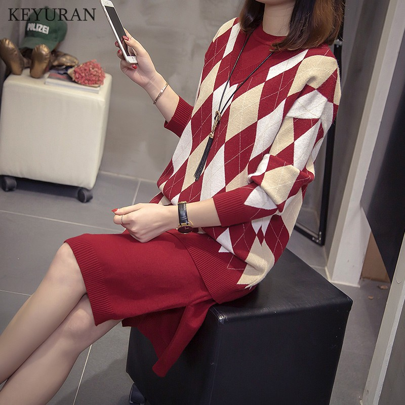 Two Pieces Set Autumn Winter O-Neck Loose Pullovers And Knitted Vest Dress  1