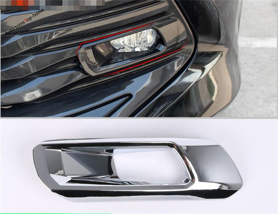 Yimaautotrims Front Head Fog Lights Lamp Protection Cover Sequins Trim 2 Pcs Chromium Styling Fit For Toyota Camry 2018 2019 Abs To Have Both The Quality Of Tenacity And Hardness Auto Replacement Parts