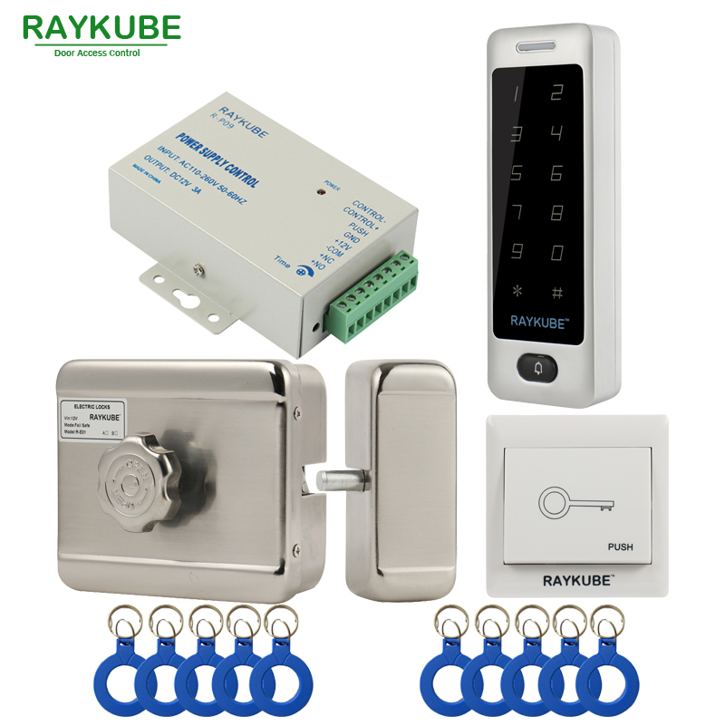 RAYKUBE Electric Motor Lock Access Control System Kit + Metal Touch Password Keypad+Exit Button+ID Keyfobs Door Security diysecur rfid id card keypad door access control system kit electric lock exit button b100