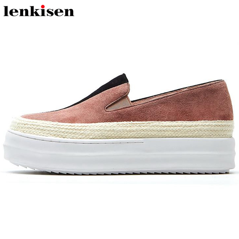 Lenkisen 2018 mixed colors round toe patchwork slip on causal shoes thick med heels spring lazy party women vulcanized shoes L66 пуф patchwork colors