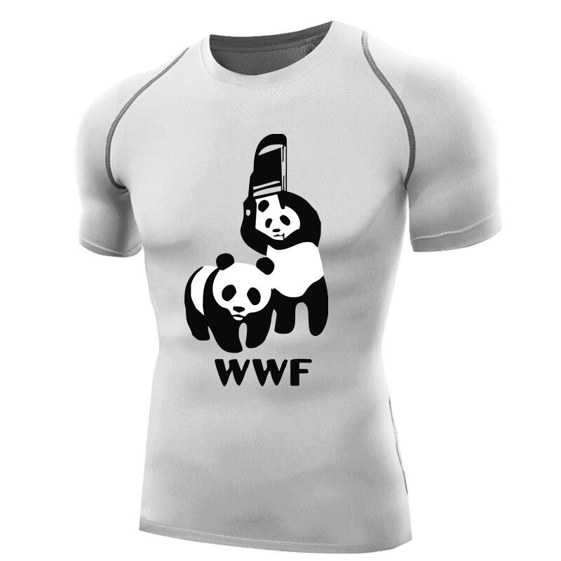 wwf wrestling shirt for men compression shirt short sleeve wwf panda t shirt Bodybuilding Tops Base Layer wwf t-shirt chair funy(China)